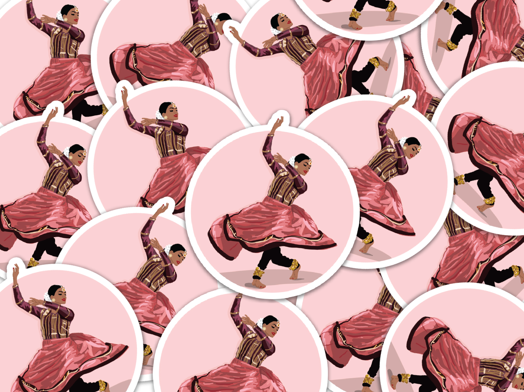 Stickers of an Indian dancer
